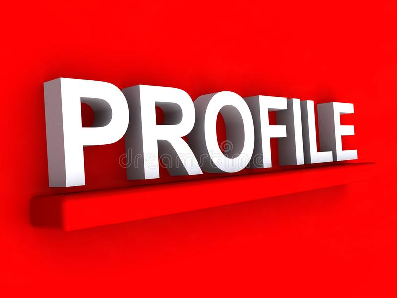 Profile heading. On red background vector illustration