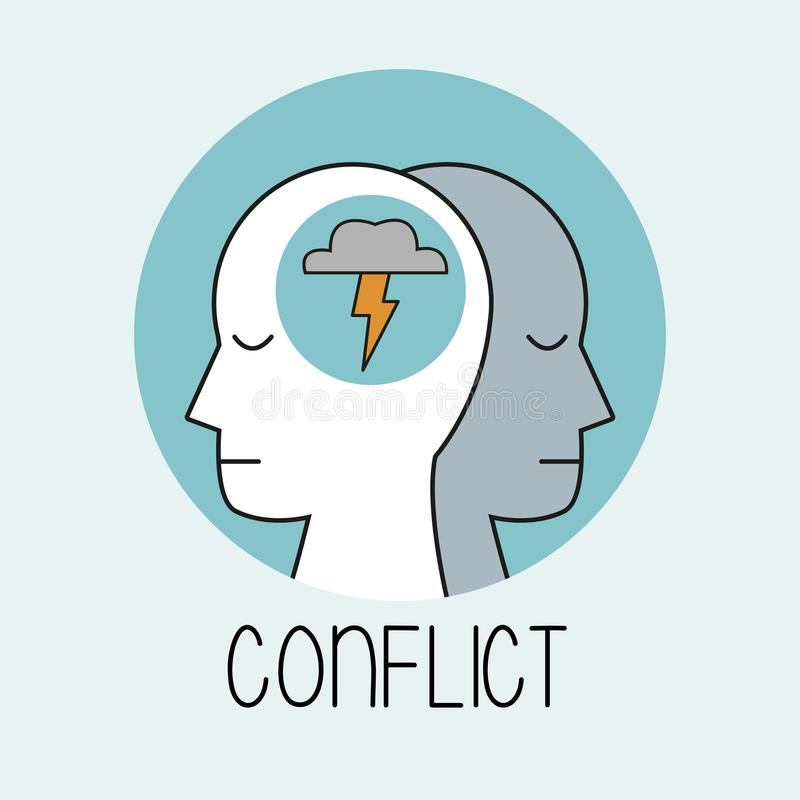 Profile human head conflict stock illustration