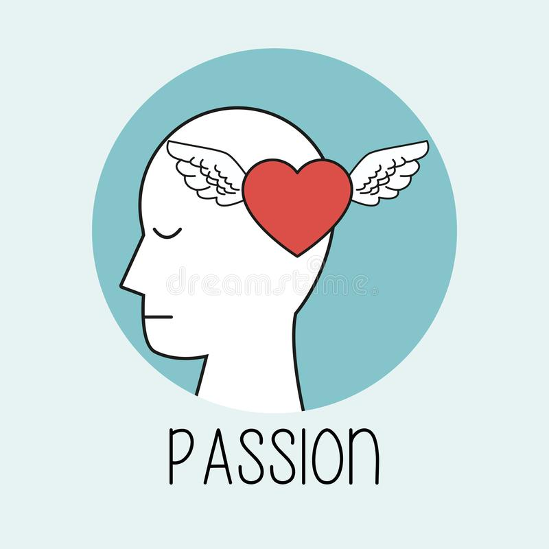 Profile human head passion. Vector illustration eps 10 royalty free illustration