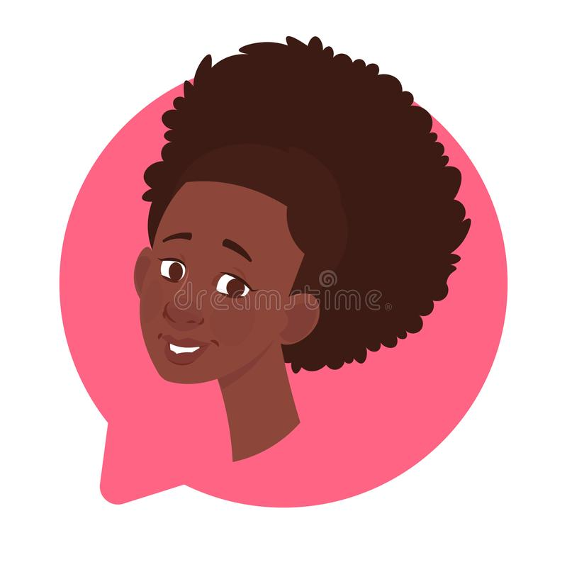 Profile Icon African American Female Head In Chat Bubble Isolated, Woman Avatar Cartoon Character Portrait royalty free illustration