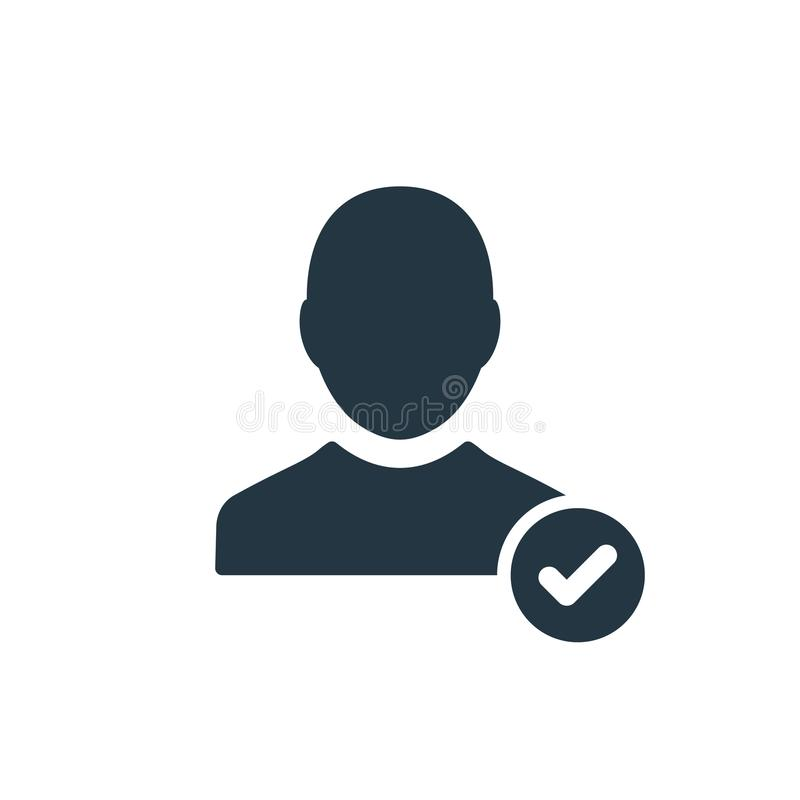 Profile icon with check sign. Profile icon and approved, confirm, done, tick, completed symbol. Vector icon stock illustration