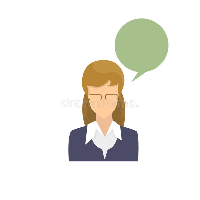 Profile Icon Female Avatar Woman Cartoon Portrait Casual Person Silhouette Face. Chat Bubble Flat Vector Illustration stock illustration