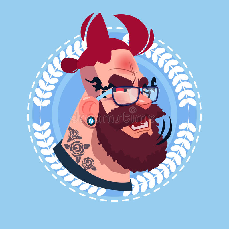 Profile Icon Male Emotion Avatar, Hipster Man Cartoon Portrait Happy Smiling Face With Devil Horning vector illustration