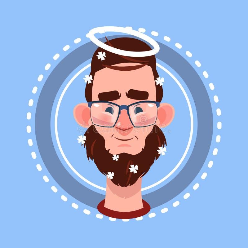 Profile Icon Male Emotion Avatar Positive Angel, Man Cartoon Portrait Happy Smiling Face. Flat Vector Illustration stock illustration