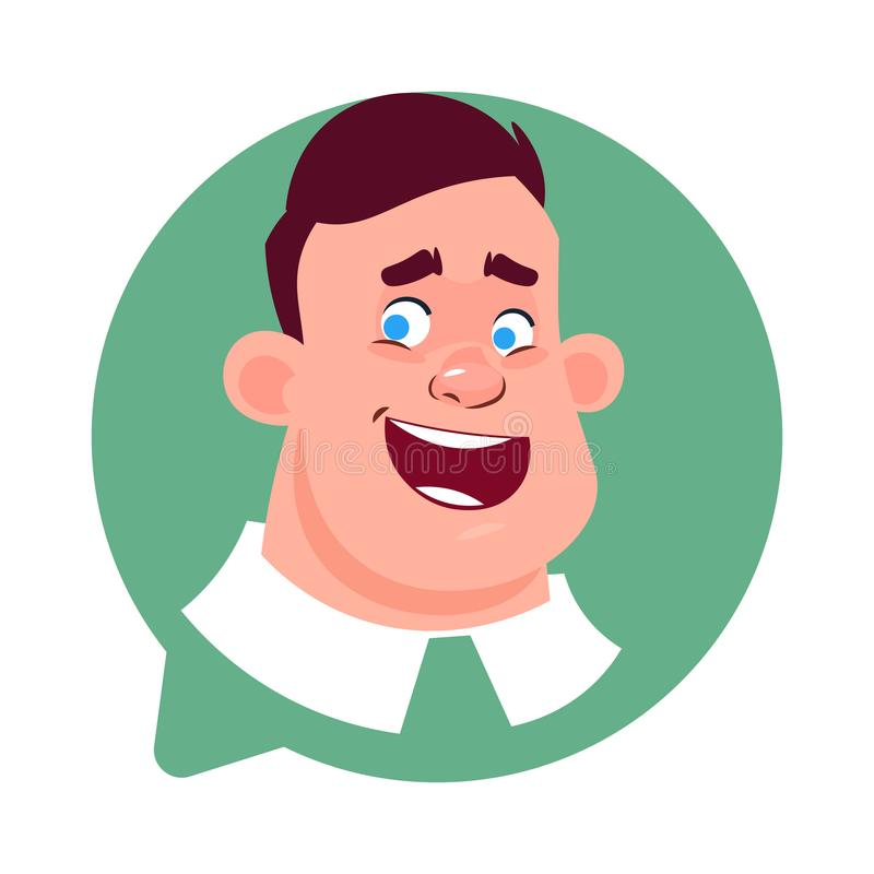 Profile Icon Senior Male Head In Chat Bubble Isolated, Man Avatar Cartoon Character Portrait royalty free illustration