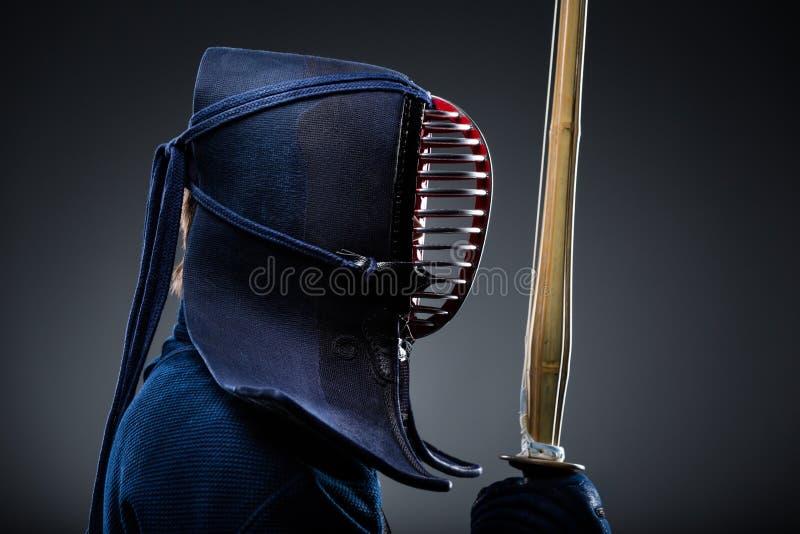 Download Profile Of Kendoka With Shinai Stock Image - Image of headwear, grille: 30687937