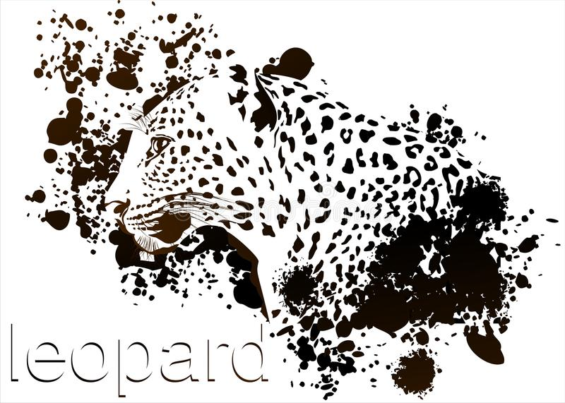 Profile Leopard Ink smudges. Profile leopard on a white background with drops of ink stock illustration
