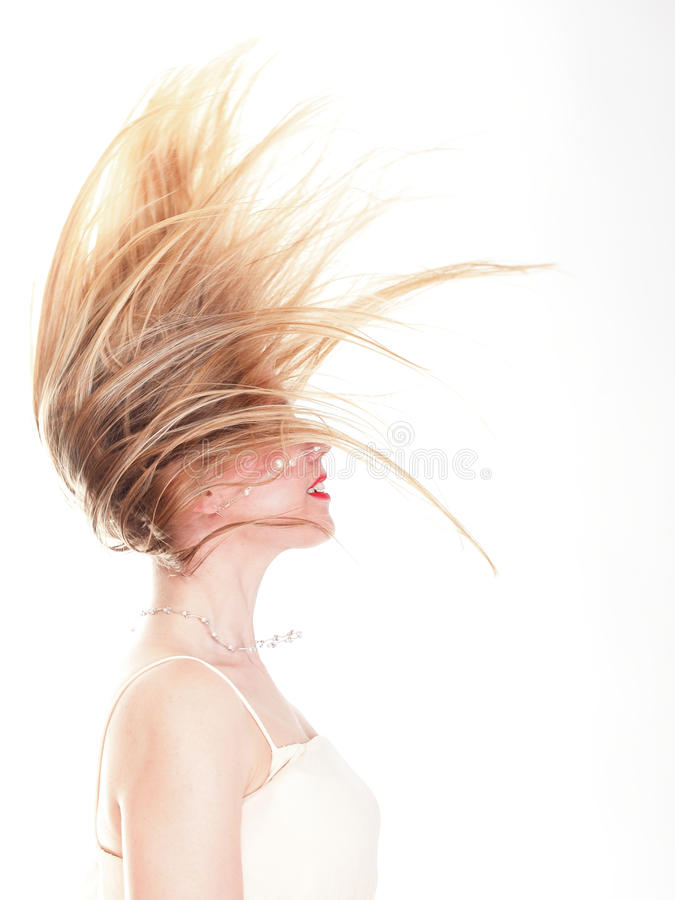 Profile of lying beauty with the smart hair royalty free stock photography