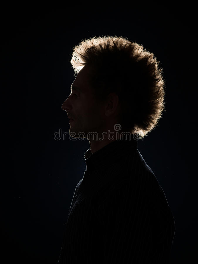 profile of man in black shadow royalty free stock photos