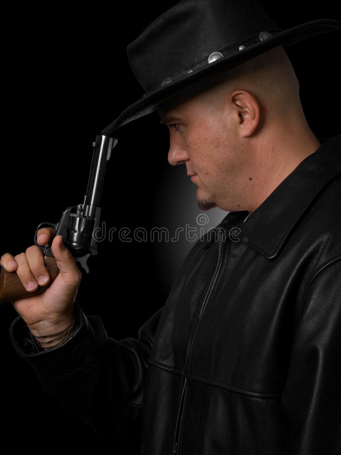 Profile of Man With Western Revolver