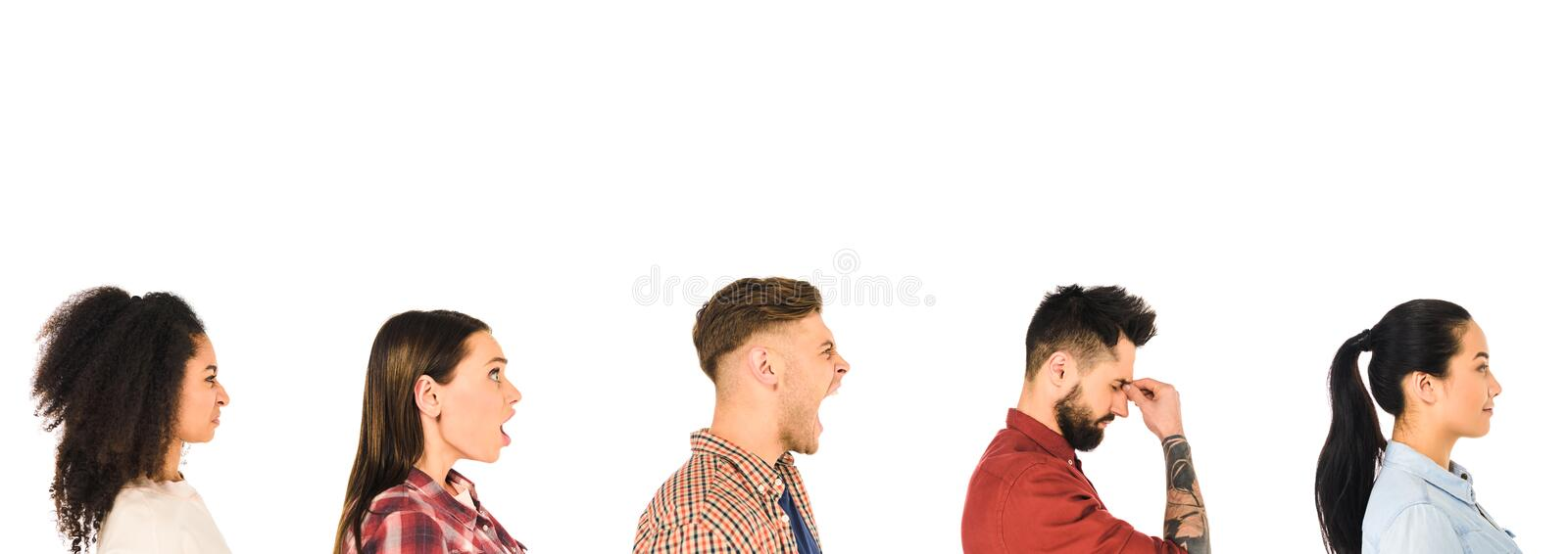 profile of milticultural group of people with face expression isolated stock image