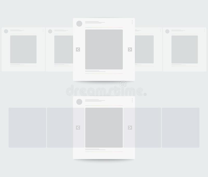Profile of mobile page with horizontal scrolling stock illustration