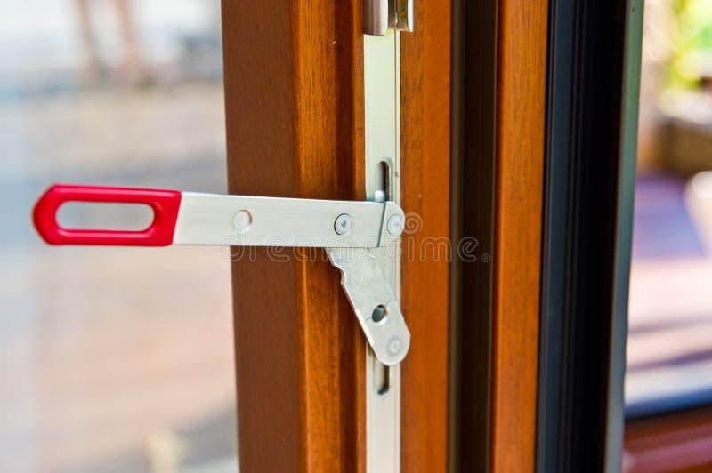 Modern advanced window profile made of wood and aluminum stock photo