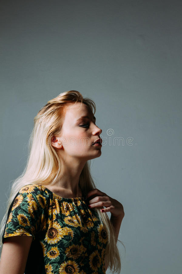 Free Profile Of A Blonde Young Woman, With Her Eyes Closed Royalty Free Stock Photography - 75306667