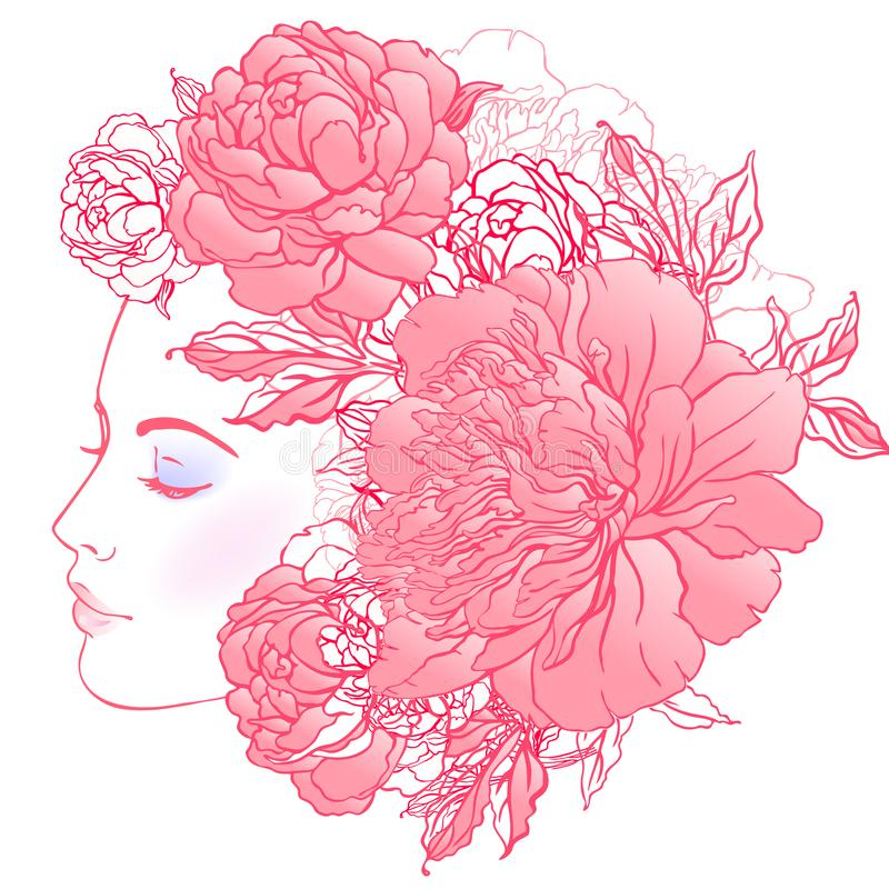 Free Profile Of A Young Girl With Peonies In Her Hair. Hand Drawn Vector Fashion Illustration In Pink Color. Female Portrait Of Magic Stock Photos - 101860553