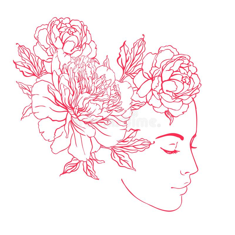 Free Profile Of A Young Girl With Peonies In Her Hair. Hand Drawn Vector Fashion Illustration In Pink Color. Female Portrait Of Magic Royalty Free Stock Images - 101860559