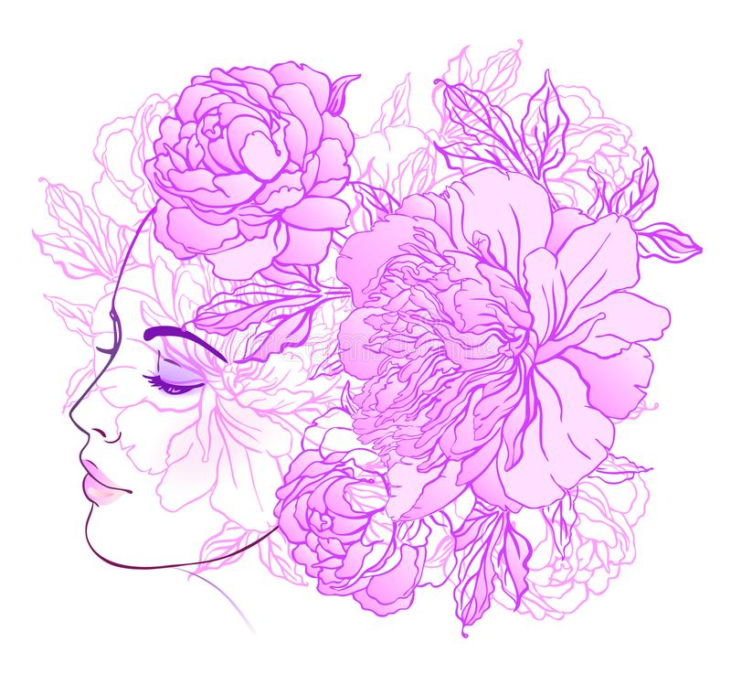Free Profile Of A Young Girl With Peonies In Her Hair. Hand Drawn Vector Fashion Illustration In Pink Color. Female Portrait Of Magic Stock Photos - 101860683