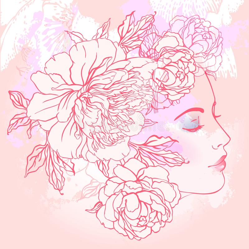 Free Profile Of A Young Girl With Peonies In Her Hair. Hand Drawn Vector Fashion Illustration In Pink Color. Female Portrait Of Magic Royalty Free Stock Photos - 101860818