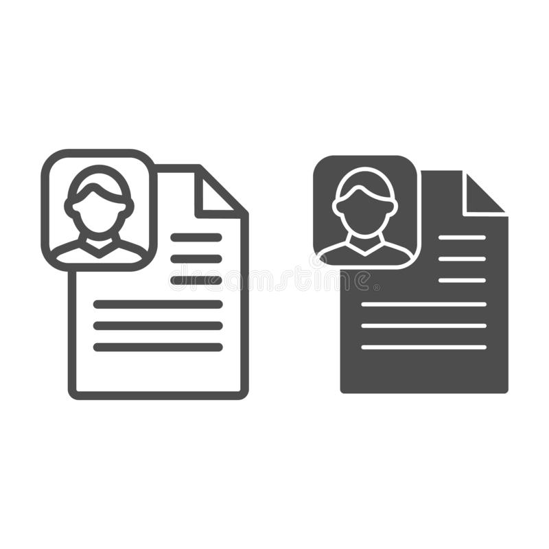 Profile paper line and glyph icon. Medical file vector illustration isolated on white. Patient document outline style. Design, designed for web and app. Eps 10 stock illustration