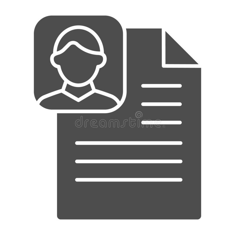 Profile paper solid icon. Medical file vector illustration isolated on white. Patient document glyph style design. Designed for web and app. Eps 10 stock illustration