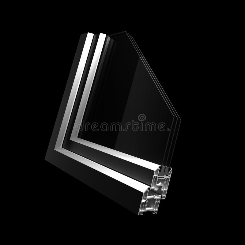 Profile part plastic windows. Black stock illustration