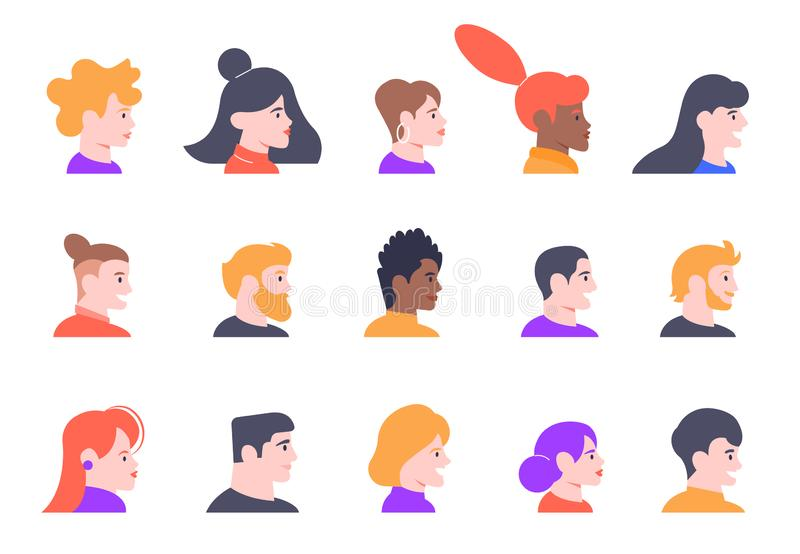 Profile people portraits. Face male and female profiles avatars, young people characters heads profile view isolated vector illustration