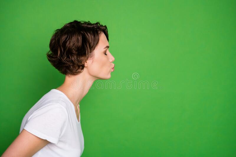 Profile photo of attractive cute lady wavy bobbed hairdo sending air kisses empty space flirty eyes closed wear casual. Profile photo of attractive cute lady royalty free stock photography