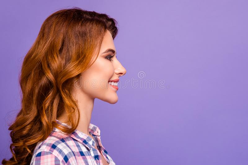 Profile photo of pretty foxy lady looking empty space with amazing smile wear checkered casual shirt isolated purple stock photography