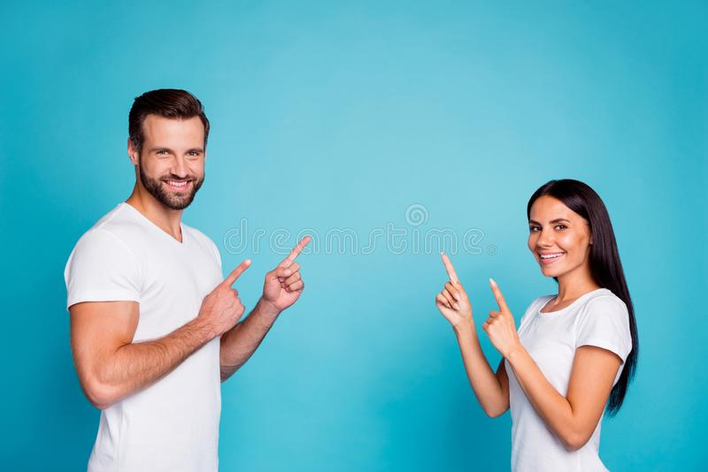 Profile photo of salesperson pair advising buy new product wear casual outfit isolated blue background royalty free stock photos