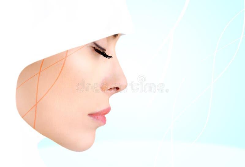 Profile photo of sensual beauty Muslim woman. Closed eyes royalty free stock image