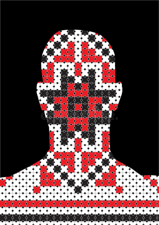 Profile picture - pixel traditional - head silhouette. Profile picture - Romanian traditional pattern royalty free illustration
