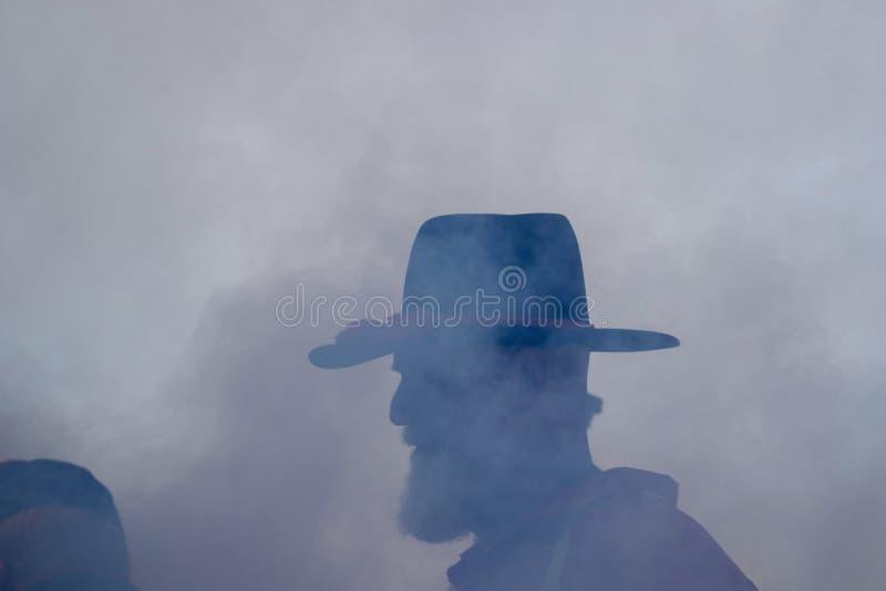 Soldier at a Civil War reenactment stock photo