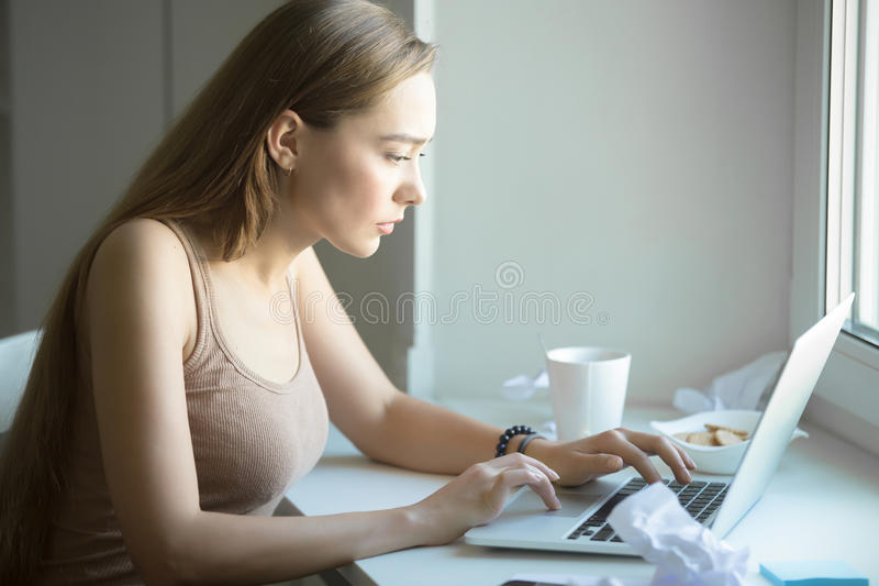 Profile portrait of attractive woman working on a laptop. Profile portrait of a young attractive serious woman, concentrated working at laptop, looking focused stock photos