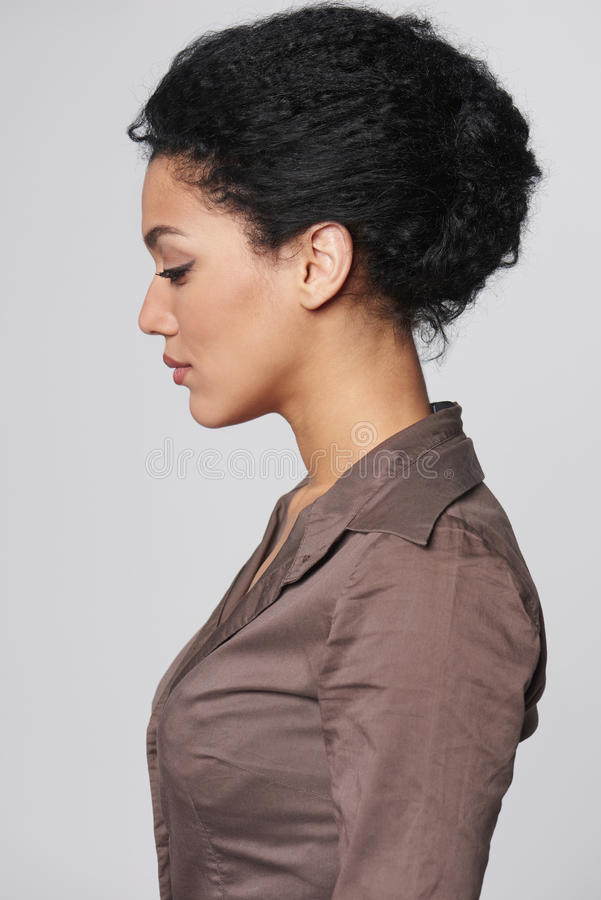 Profile portrait of beautiful business woman royalty free stock photography