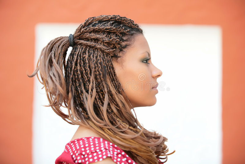 Profile portrait of the beautiful girl stock photo