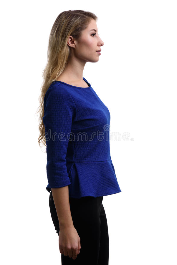 Profile portrait of beautiful young girl royalty free stock photos