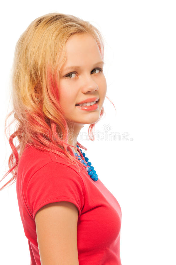 Blonde 13 Year Old: Profile Portrait Of Blond Smiling Girl Isolated Stock
