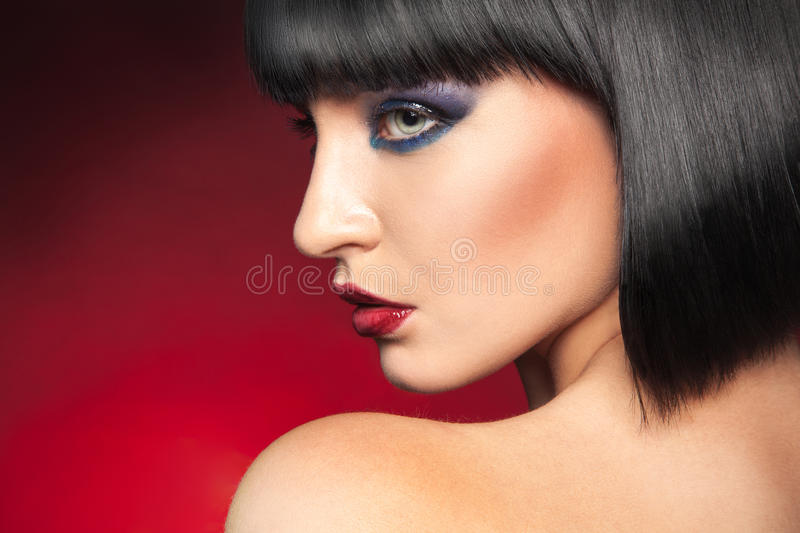 Profile portrait of brunette royalty free stock photography