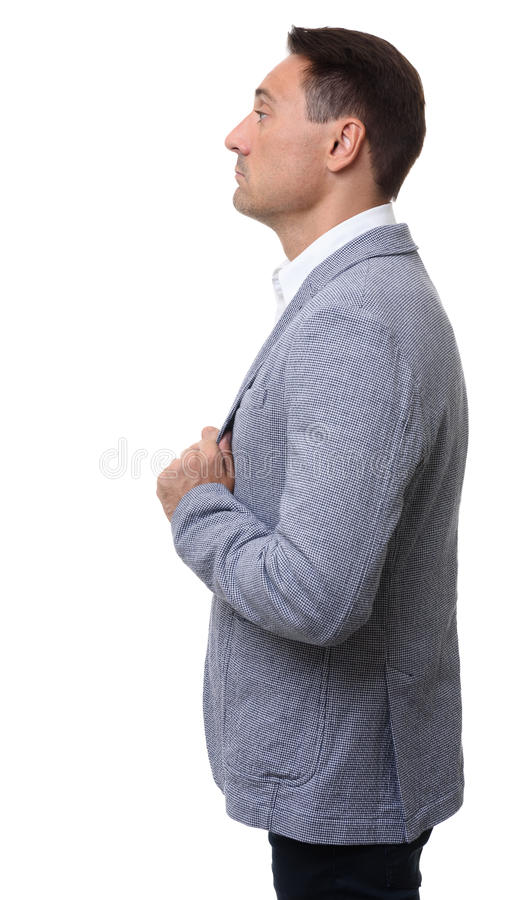 Profile portrait of a businessman, isolated stock images