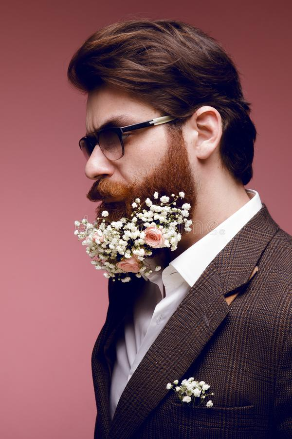 Profile portrait of a fashionable bearded man with flowers in beard, isolated on a dark pink background. royalty free stock photos