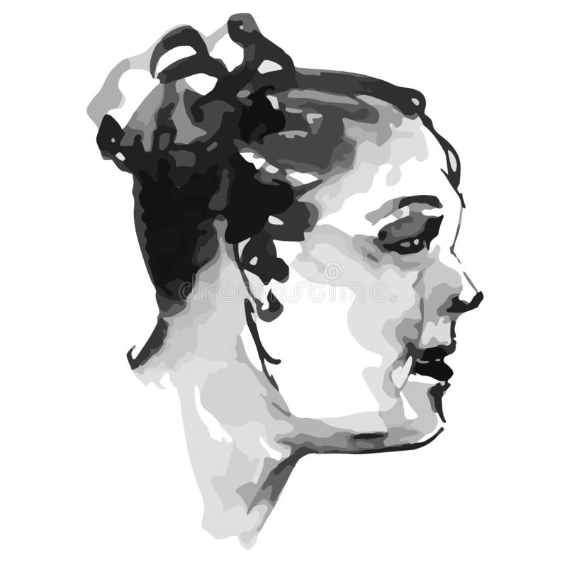 Profile portrait of a full ruddy chubby woman with funny curls retro vintage - quick black and white freehand sketch vector illustration