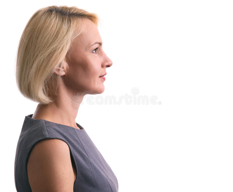Profile portrait of a happy woman isolated stock photography