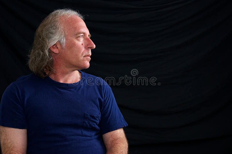 Profile portrait of older man royalty free stock photo