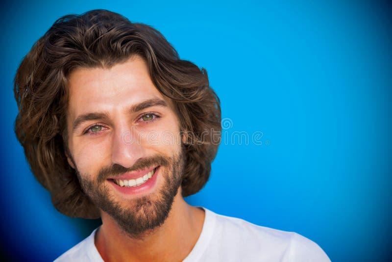 Composite image of profile portrait serious brunette man stock photography