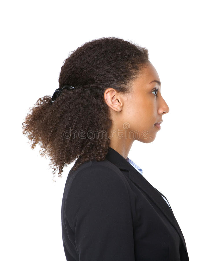 Profile portrait of a young black business woman stock photos