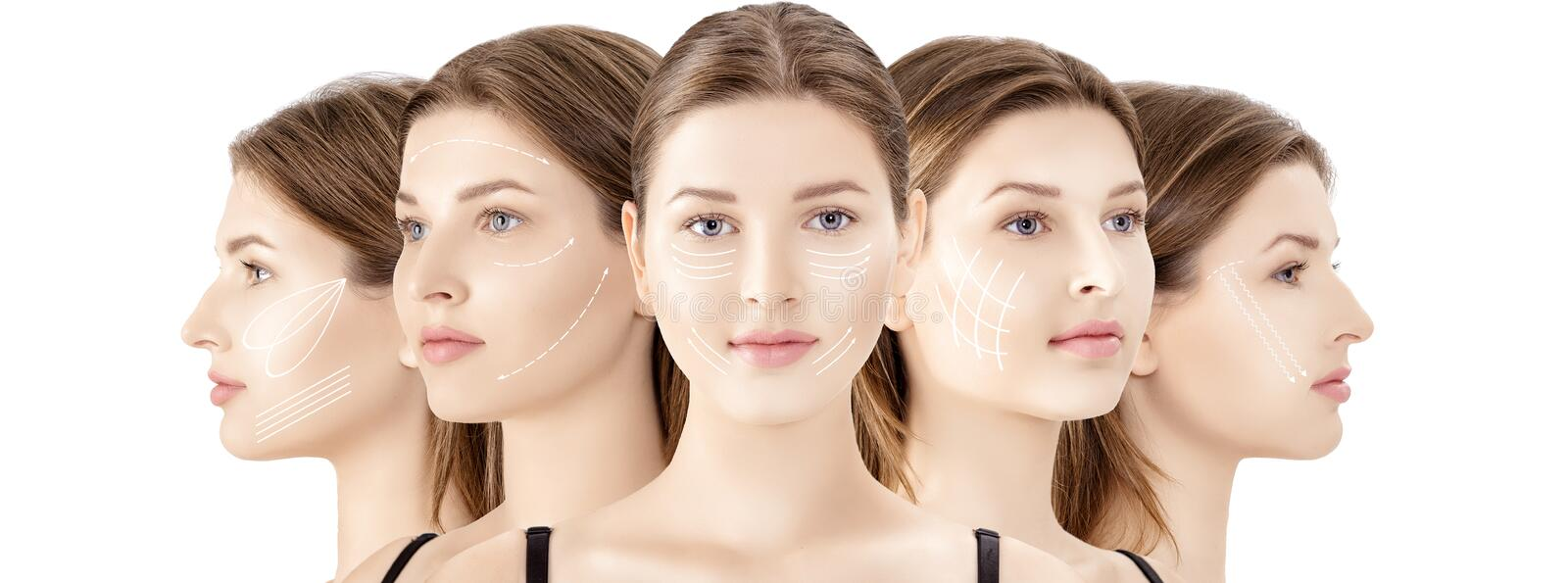 Profile portrait of young slim woman in black lingerie isolated on white background stock photos