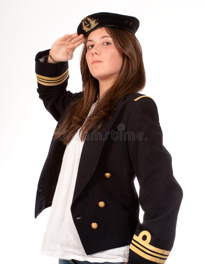 Profile of saluting girl with officer uniform royalty free stock image