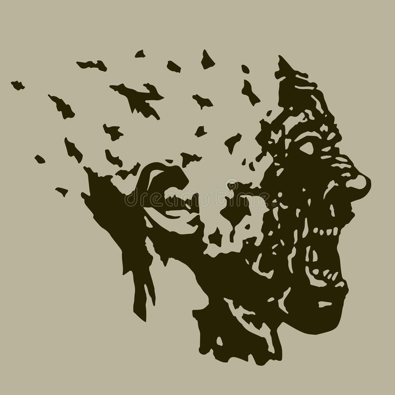 Profile of the screaming ghoul head with a torn face. Vector illustration. The horror genre royalty free illustration