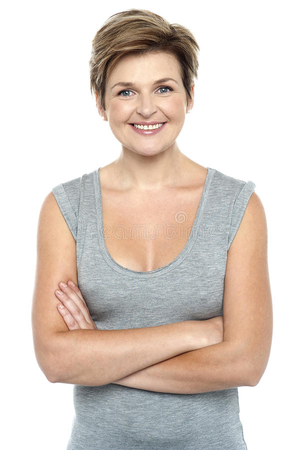 Download Profile Shot Of Charming Woman Flashing A Smile Stock Image - Image: 27544627