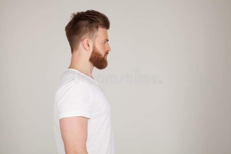 Profile shot of handsome male with trendy hairdo and beard, looks aside with serious expression, has thick red beard, isolated royalty free stock photo
